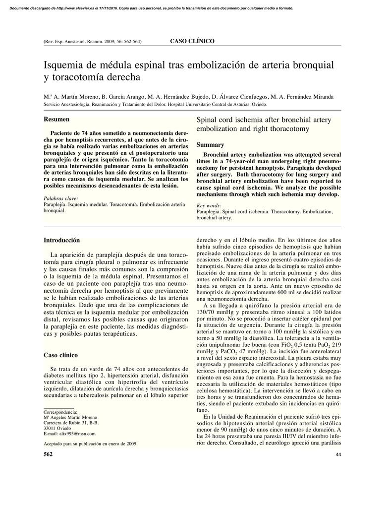 Isquemia de médula espinal tras embolización de arteria bronquial