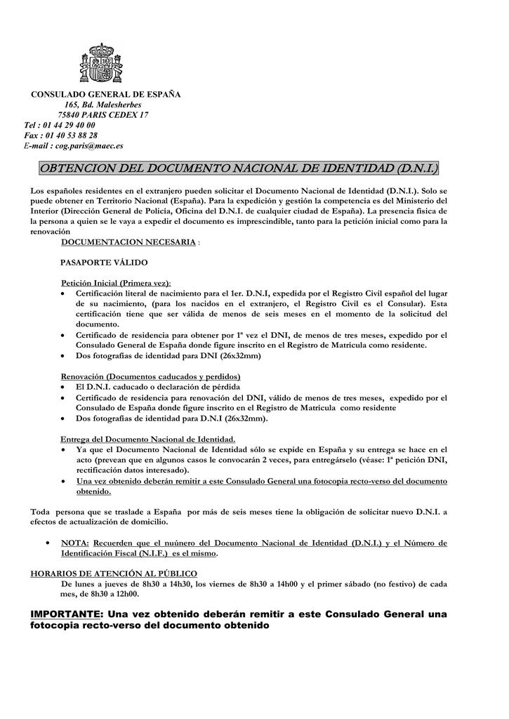 obtencion del documento nacional de identidad (dni)
