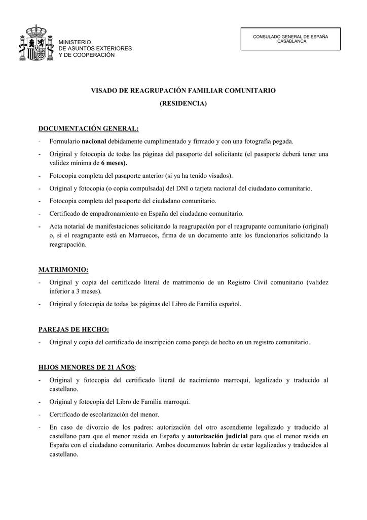 VISADO DE REAGRUPACIÓN FAMILIAR COMUNITARIO