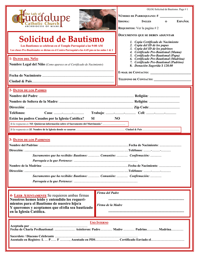 Bajar solicitud de Bautismo