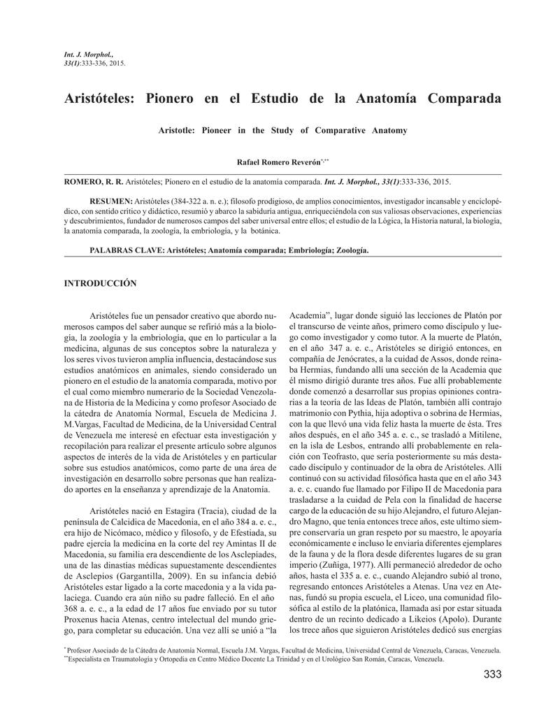 Aristóteles: Pionero en el Estudio de la Anatomía Comparada