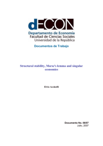 Documentos de Trabajo Structural stability, Morse`s lemma and