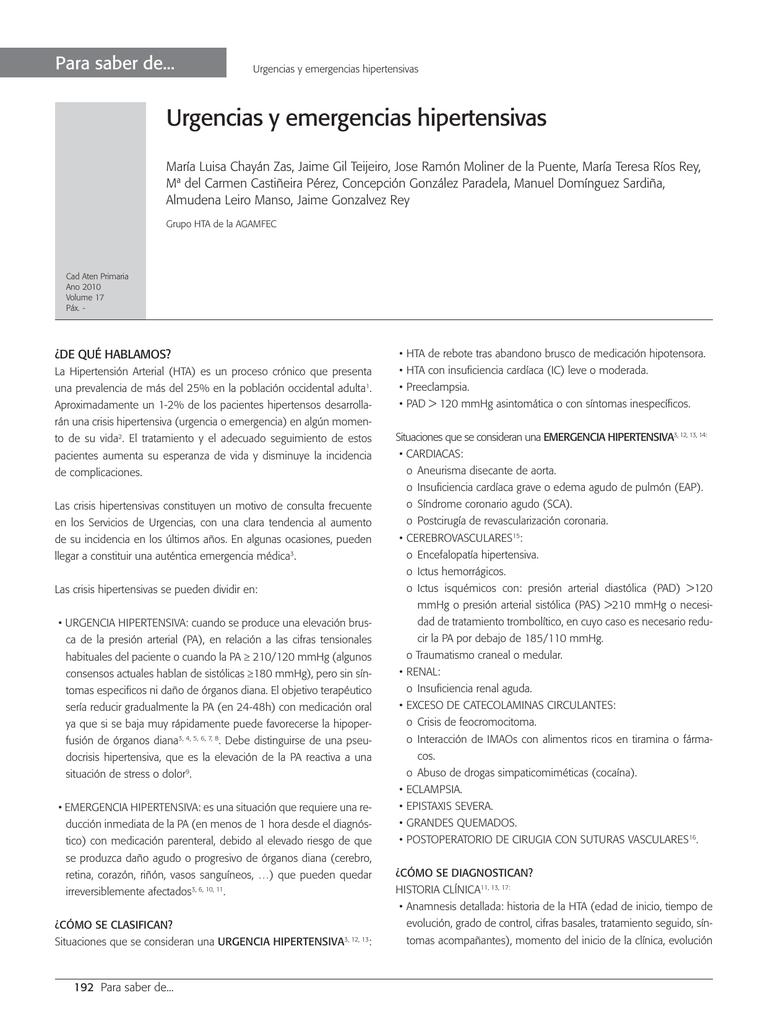 ¿Qué es la cirugía de urgencia y urgencia hipertensiva?