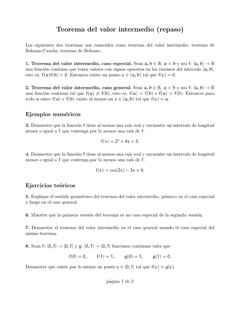 Teorema Del Valor Intermedio Repaso