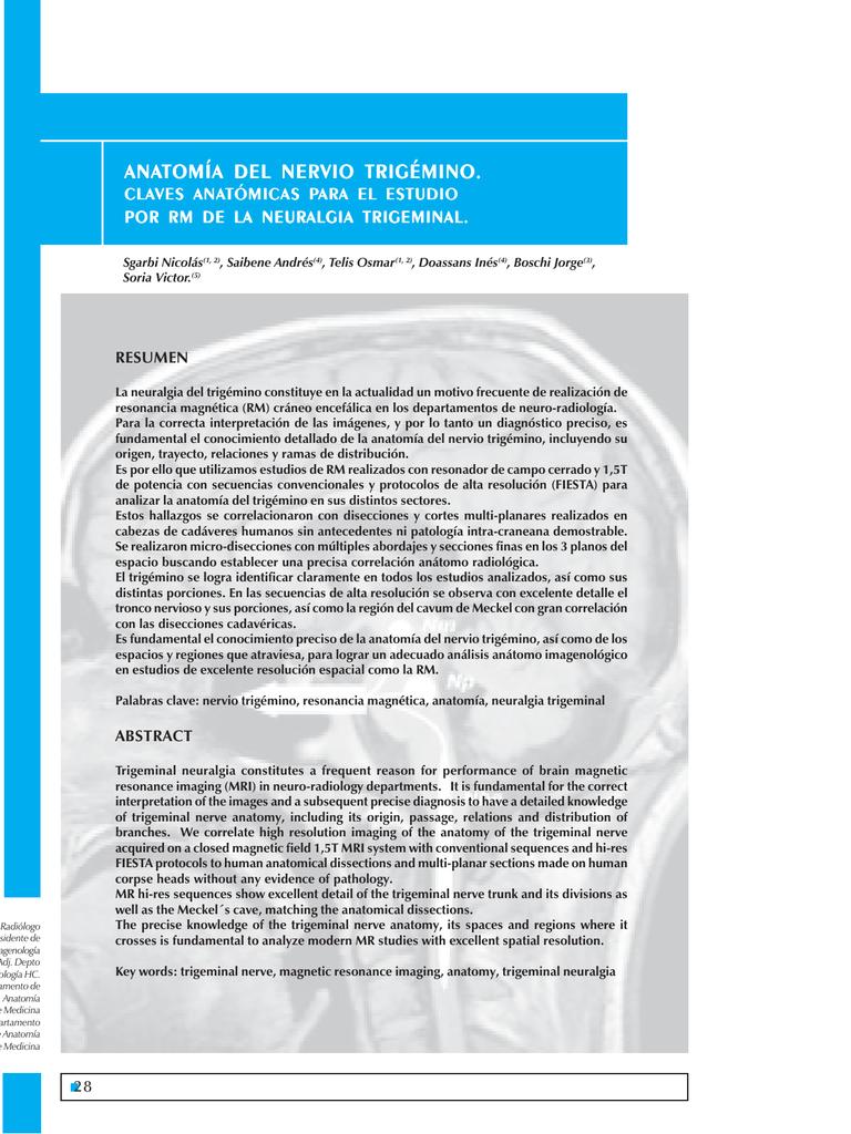anatomía del nervio trigémino tomía del nervio trigémino tomía