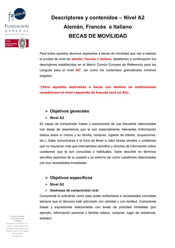 Descriptores Y Contenidos Nivel A2 Alemán Francés E Italiano