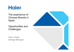 The experience of Chinese Brands in Spain. Opportunities and