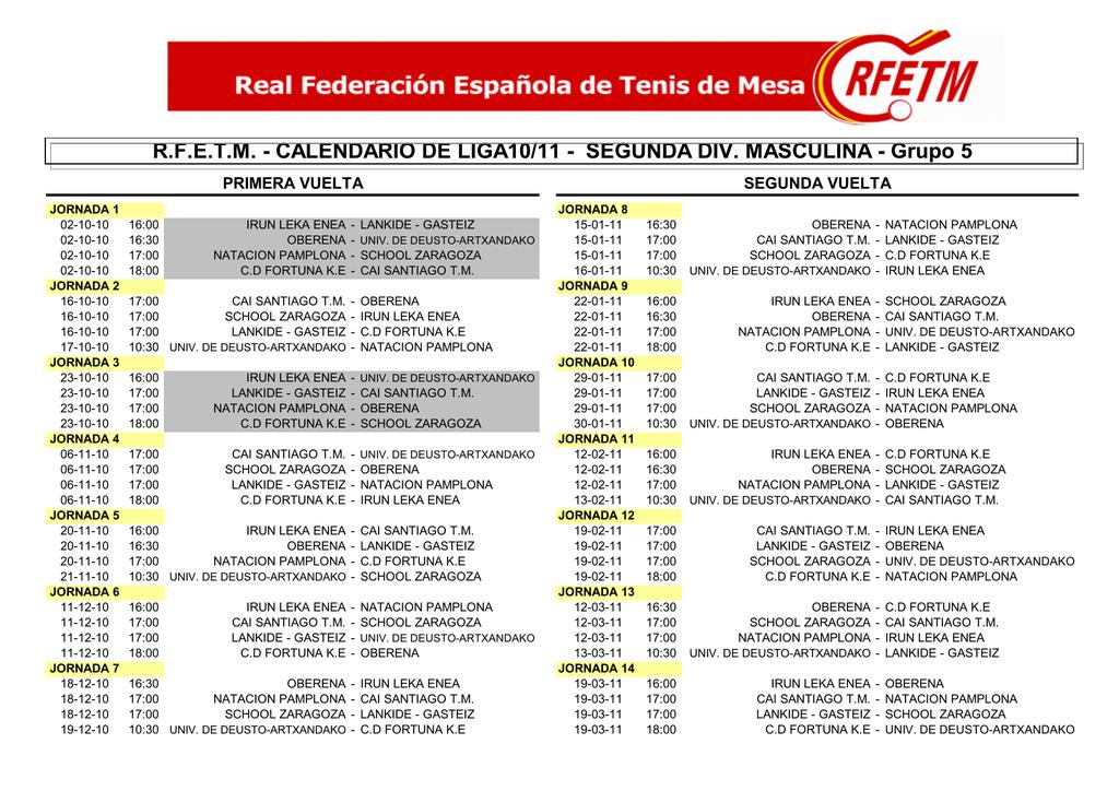 Calendario Deusto.R F E T M Calendario De Liga10 11