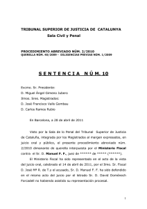 Sentencia Absolutoria. Sent. nº 10/11 de