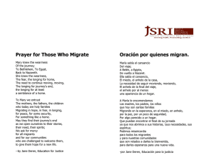 Prayer for Those Who Migrate Oración por quienes migran.