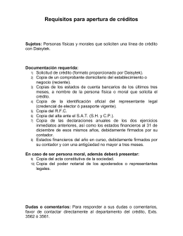 Requisitos para apertura de créditos