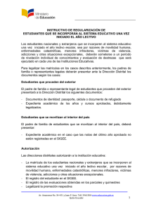 INSTRUCTIVO DE REGULARIZACIÓN DE ESTUDIANTES QUE SE