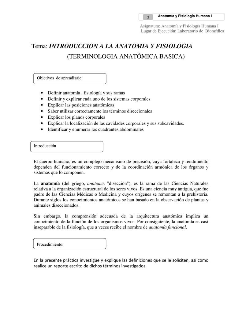 Tema: INTRODUCCION A LA ANATOMIA Y FISIOLOGIA