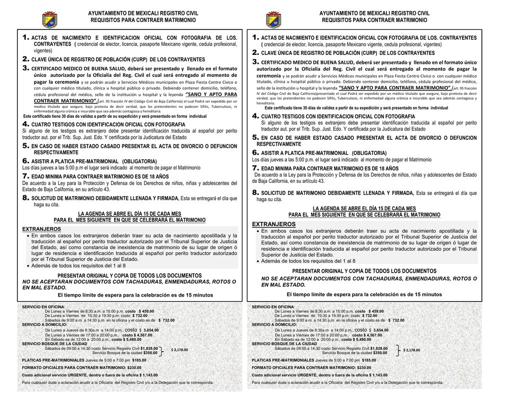Requisitos para Contraer Matrimonio