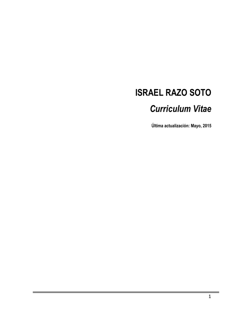 ISRAEL RAZO SOTO Curriculum Vitae - CIEP