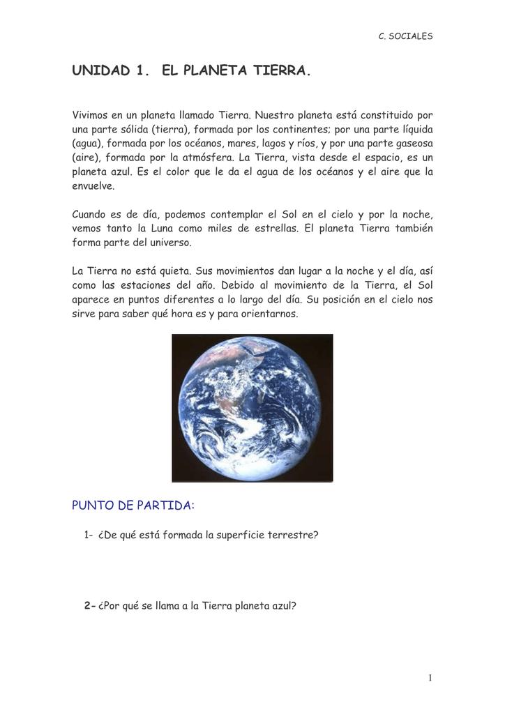 UNIDAD 1. EL PLANETA TIERRA.