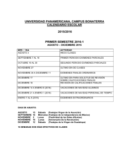 CALENDARIO ESCOLAR - Universidad Panamericana