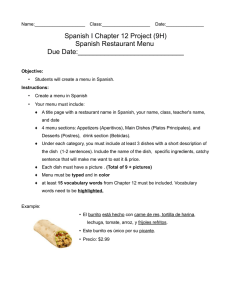 Spanish I Chapter 12 Project (9H) Spanish Restaurant Menu Due