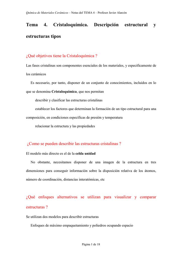 Estructura Cristalina Factores Que La Determinan
