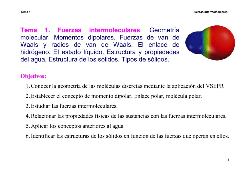 Tema 1 Fuerzas Intermoleculares Geometría Molecular Momentos