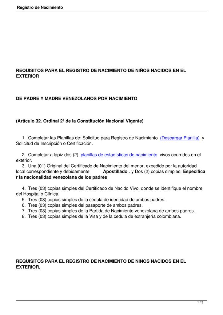 Registro de Nacimiento - Embajada de Venezuela en Colombia