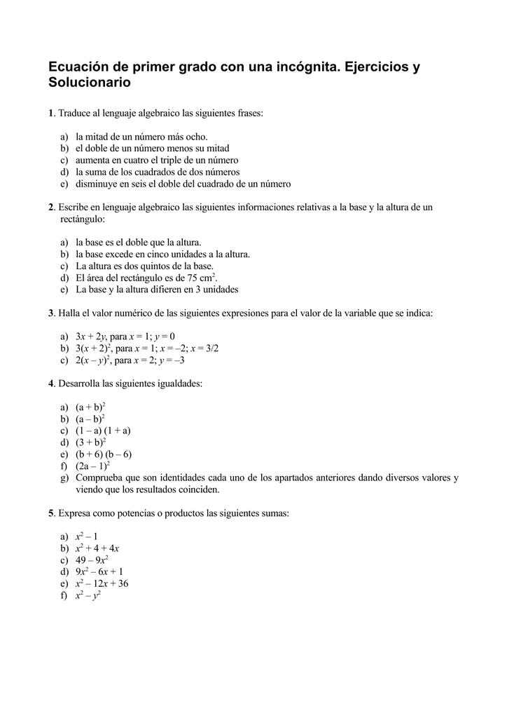 Ecuación De Primer Grado Con Una Incógnita Ejercicios Y