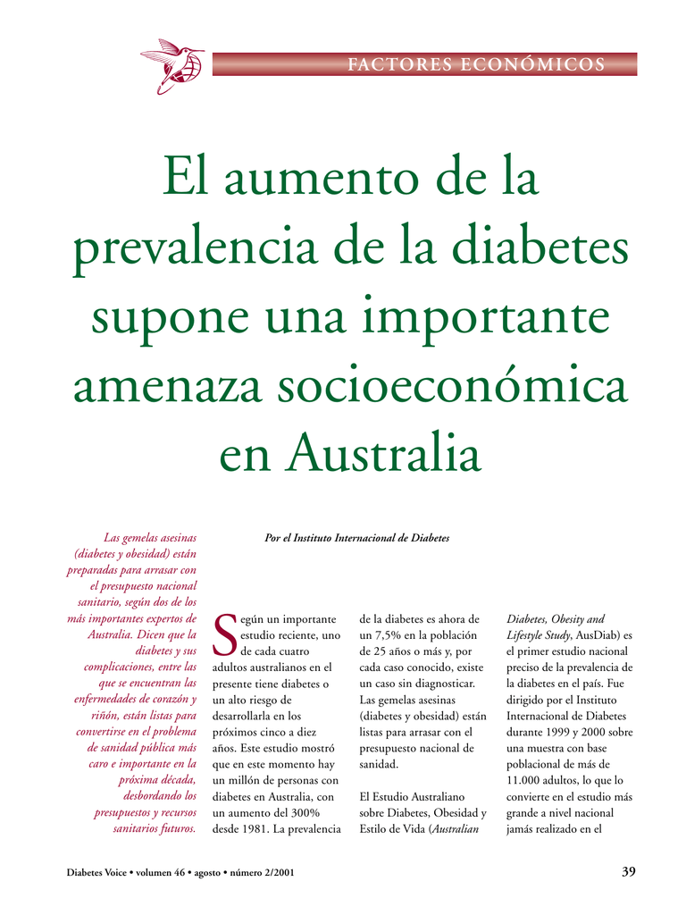 prevalencia de diabetes australiana en la población estadounidense
