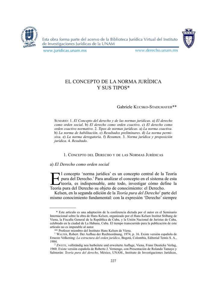 El Concepto De La Norma Jurídica Y Sus Tipos