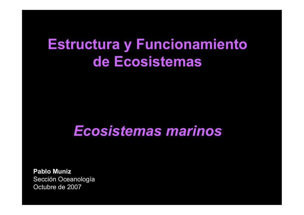Estructura Y Funcionamiento De Ecosistemas Ecosistemas Marinos