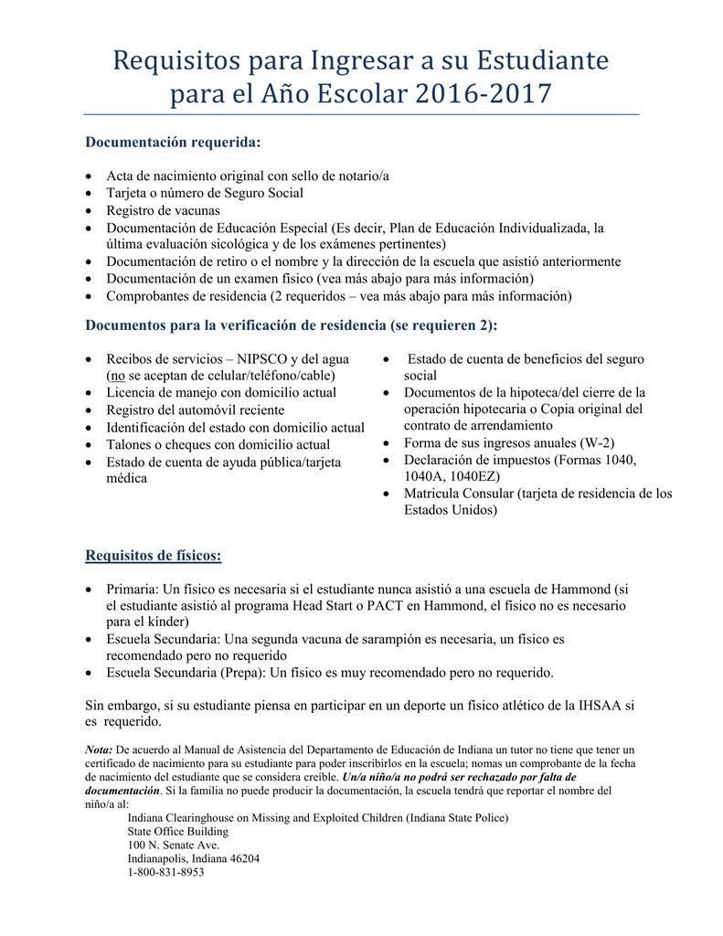 2016-2017 Requisitos para Ingresar.pd