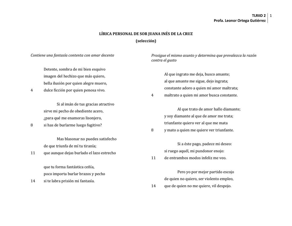 Sor Juana Poesía Lírica Y Ejercicios