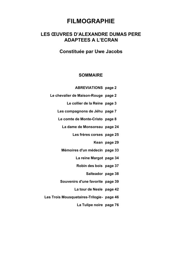 prix meilleur pas cher prix officiel filmographie - Alexandre Dumas