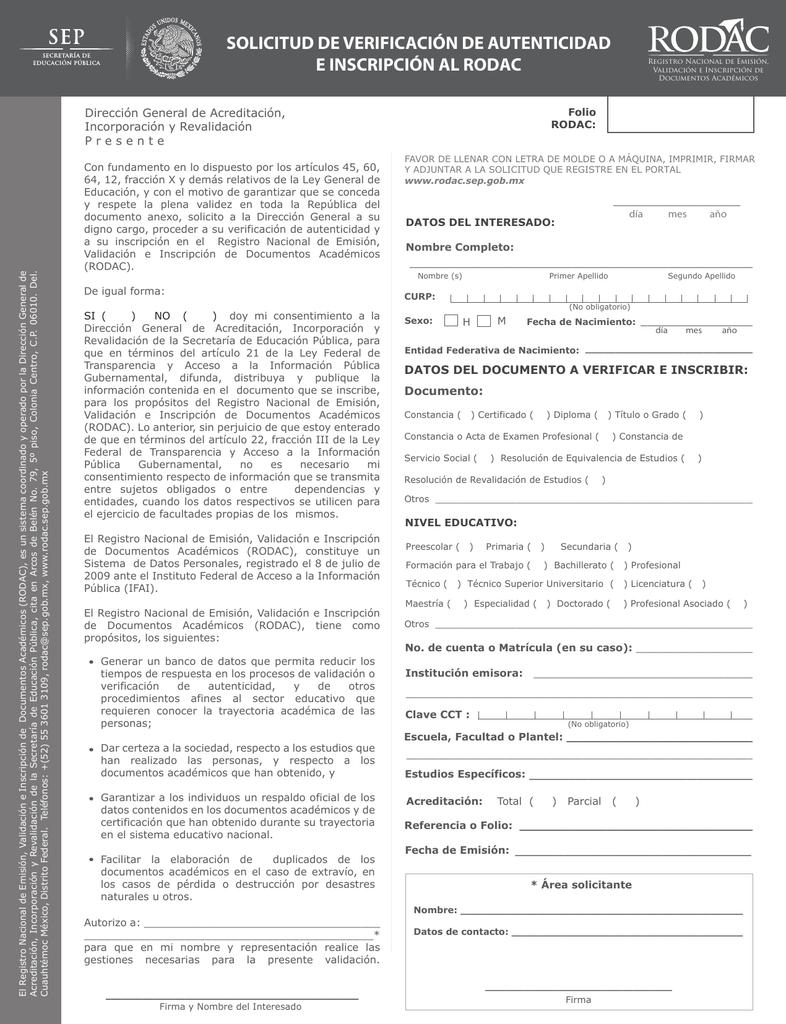 solicitud de verificación de autenticidad e inscripción al rodac