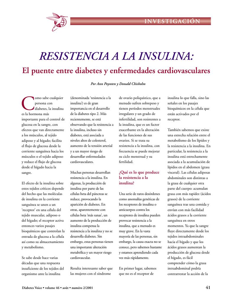 como mejorar la resistencia a la insulina
