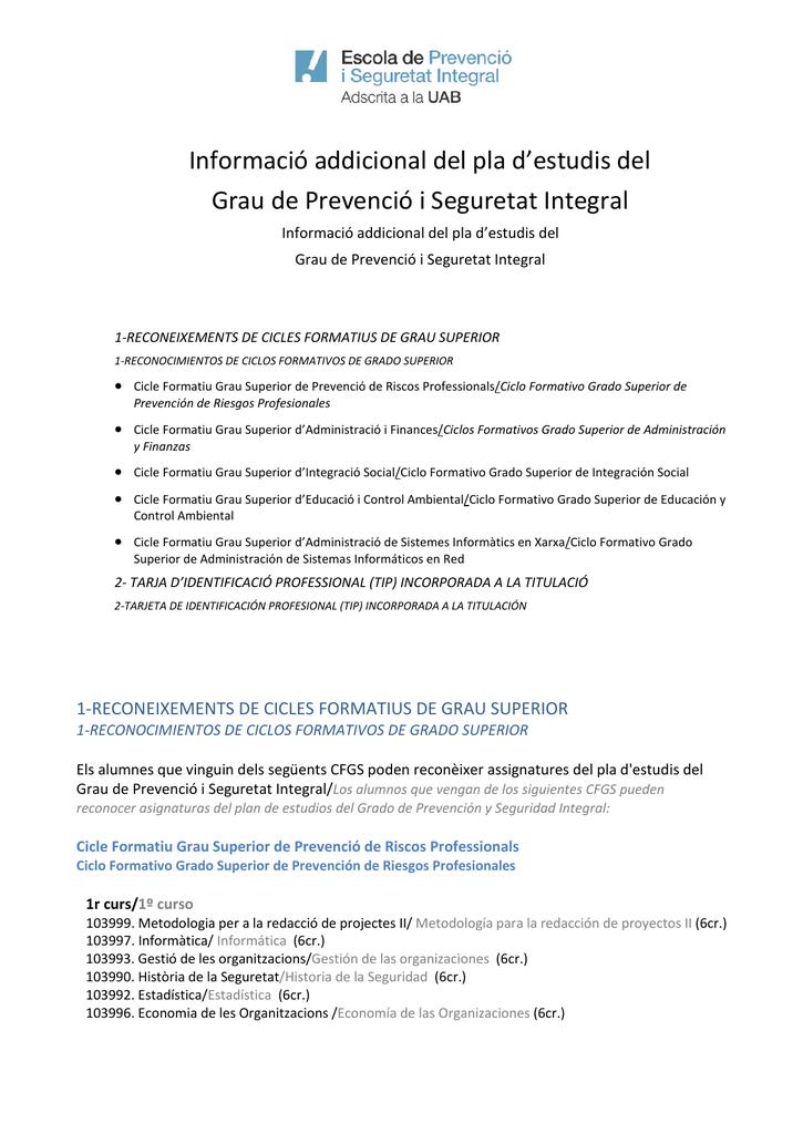 Informació Addicional Del Pla D Estudis Del Grau De Prevenció I