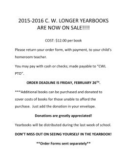 2015-2016 C. W. LONGER YEARBOOKS ARE NOW ON SALE!!!!