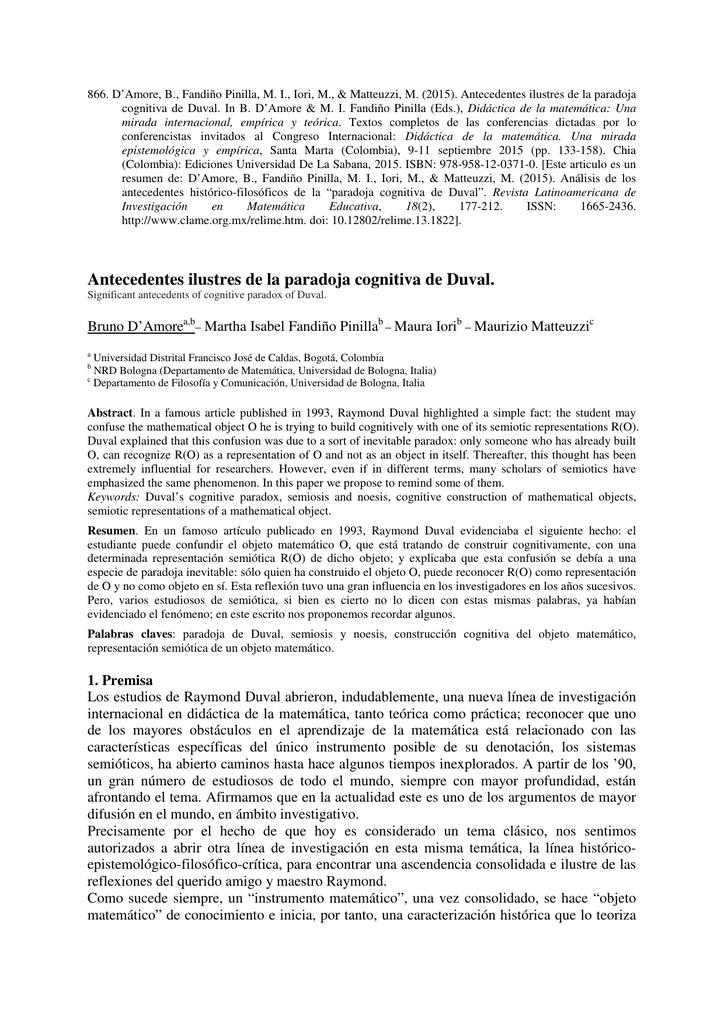 Antecedentes ilustres de la paradoja cognitiva de Duval.