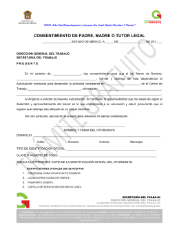 CONSENTIMIENTO DE PADRE, MADRE O TUTOR LEGAL