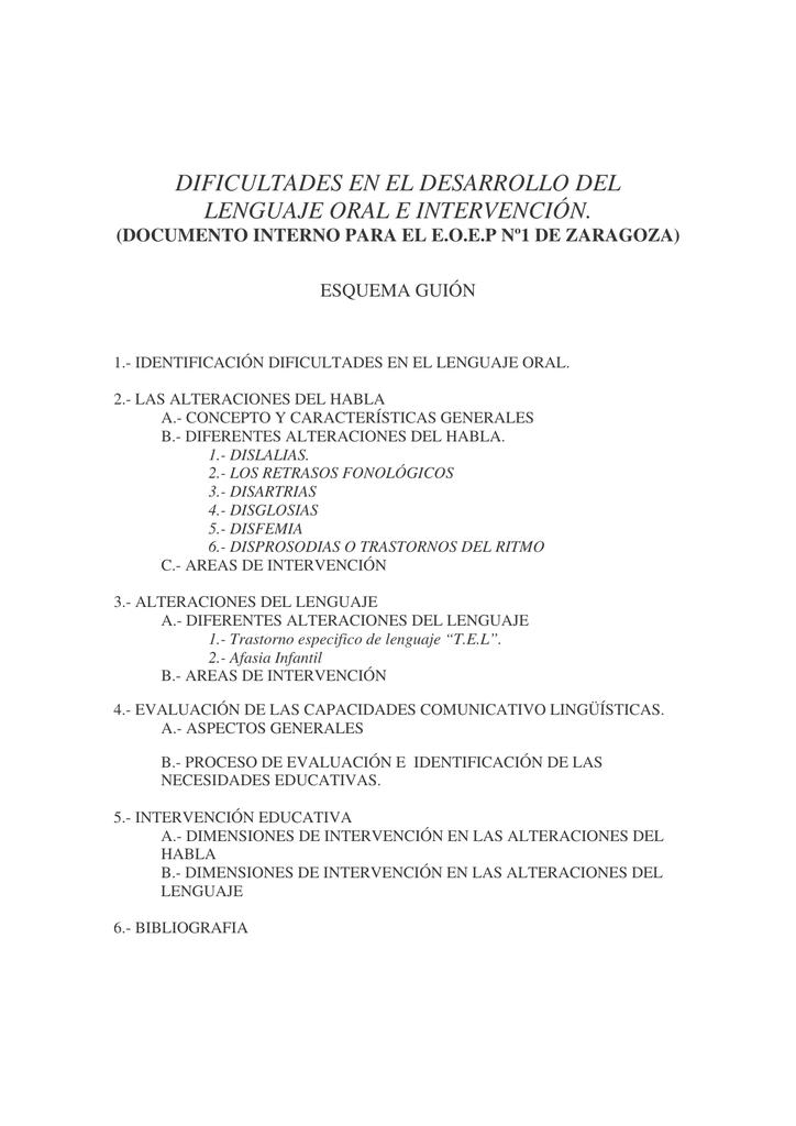 Dificultades en el desarrollo del lenguaje oral e intervención.
