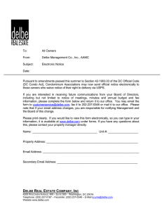 Delbe Management Co., Inc., AAMC Subject: Electronic Notice Date