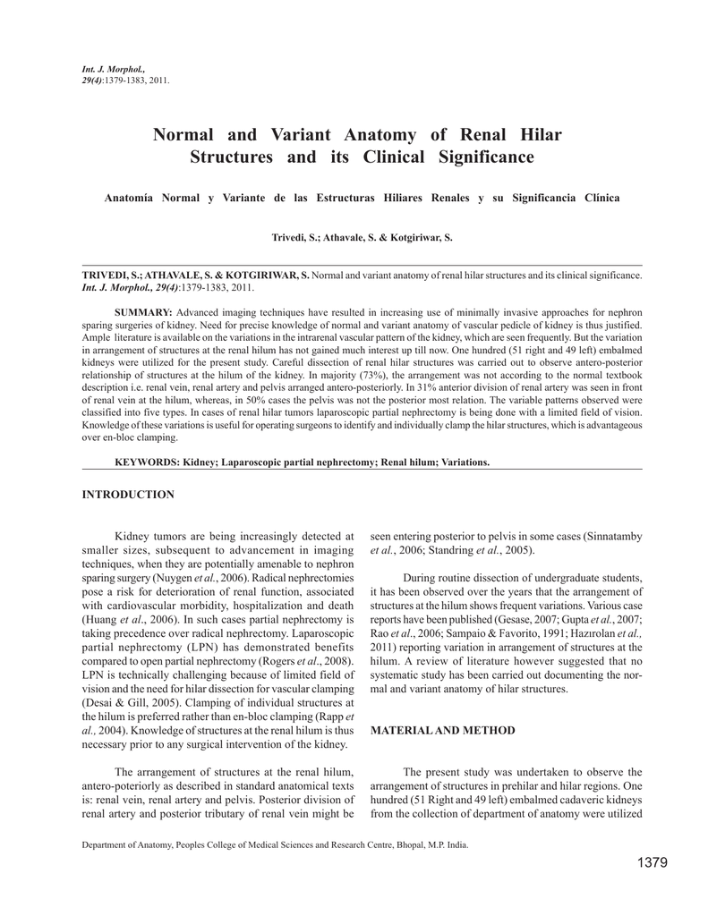 Normal and Variant Anatomy of Renal Hilar Structures and its