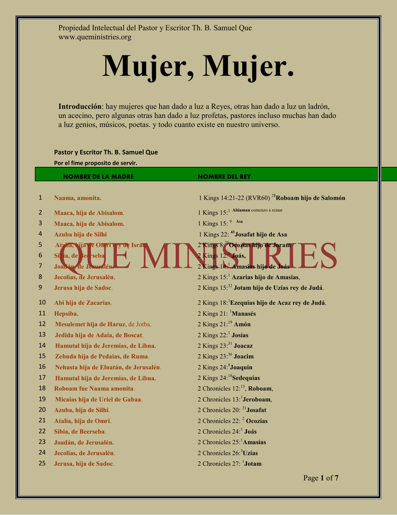 Mujer, Mujer - queministries org