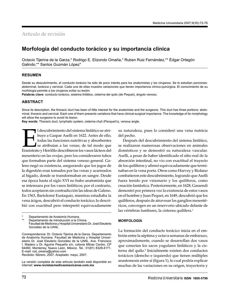 Morfología del conducto torácico y su importancia clínica Artículo de