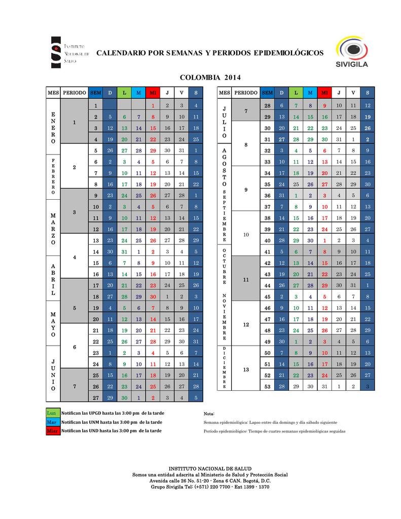 Calendario De Semanas.Calendario Por Semanas Y Periodos Epidemiologicos