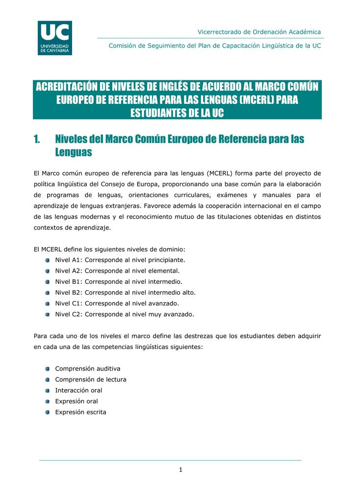 Acreditación De Niveles De Inglés De Acuerdo Al Marco Común