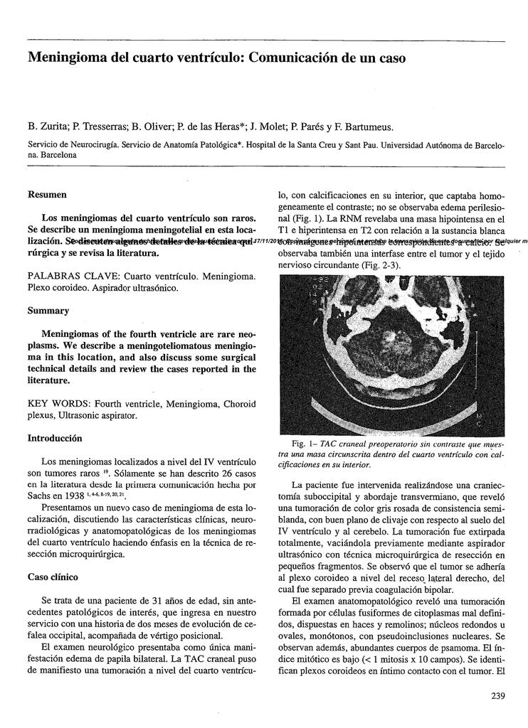 Meningioma del cuarto ventrículo: Comunicación de