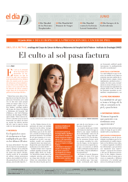 El culto al sol pasa factura - Vall d`Hebron Institute of Oncology