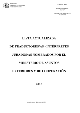 Lista actualizada de traductores/as intérpretes jurados/as