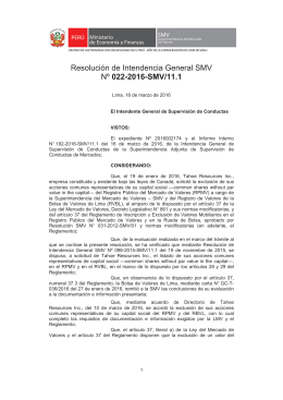 Resolución de Intendencia General SMV Nº 022-2016