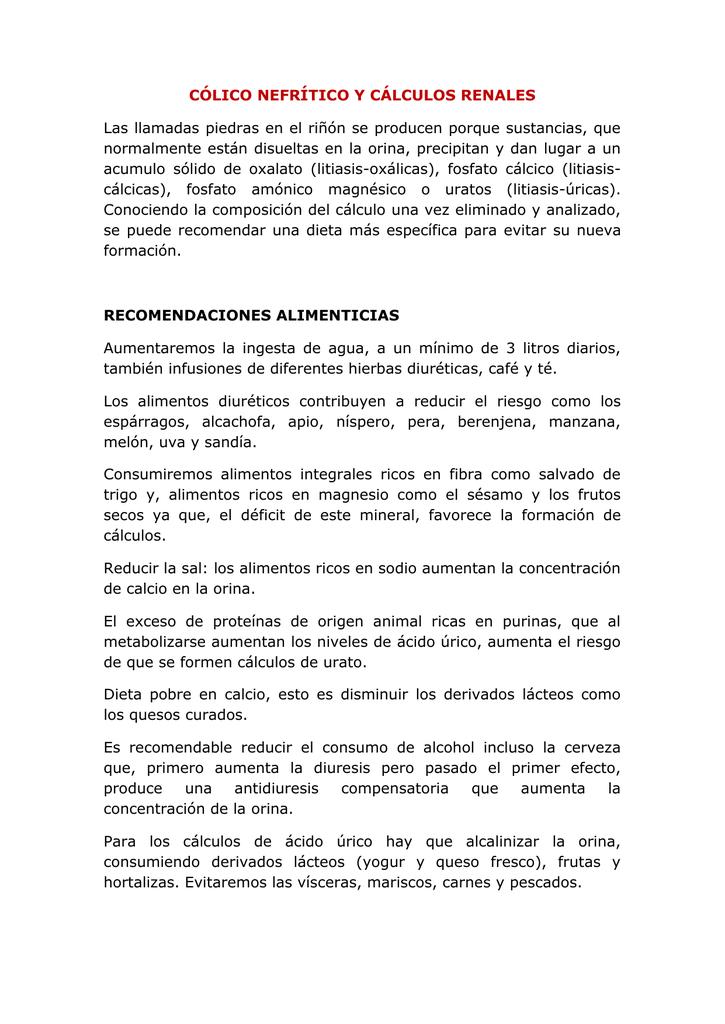 Dieta calculos renales oxalato calcico pdf